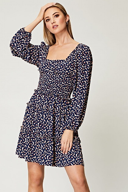 Square Neck Puffed Sleeves Smocked Mini Dress in Navy