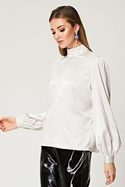 Puff Sleeve Satin Blouse in Ivory