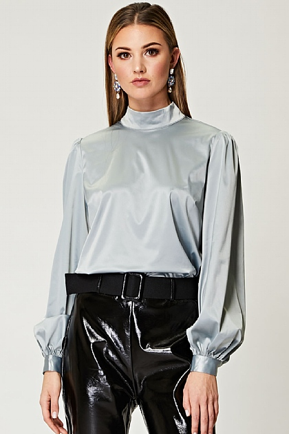 Puff Sleeve Satin Blouse in Mint