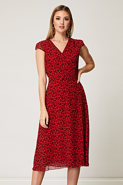 Red Leopard Print Cap Sleeve Wrap Midi Dress