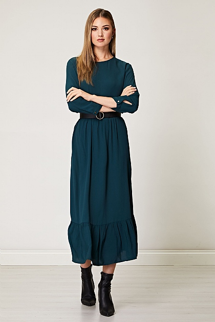 Maxi Smock Dress in Emerald Green