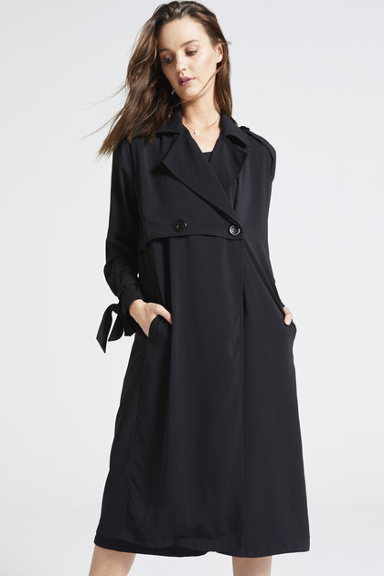 Black Longline Duster Coat