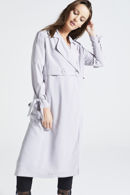 Light Blue Long Double Breasted Duster Coat