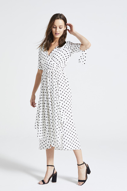 Polka Dot Side Split Midi Dress in White