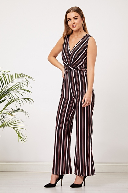 Black and Pink Striped V Neck Jumpsuit