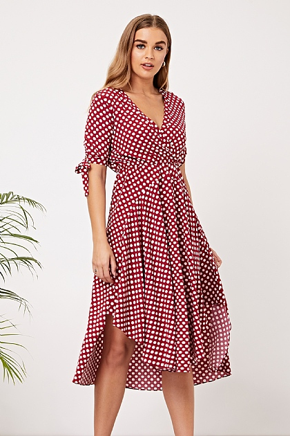 Burgundy Polka Dot Wrap Midi Dress