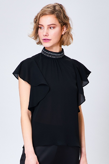 Ruffled High Neck Beaded Blouse in Black