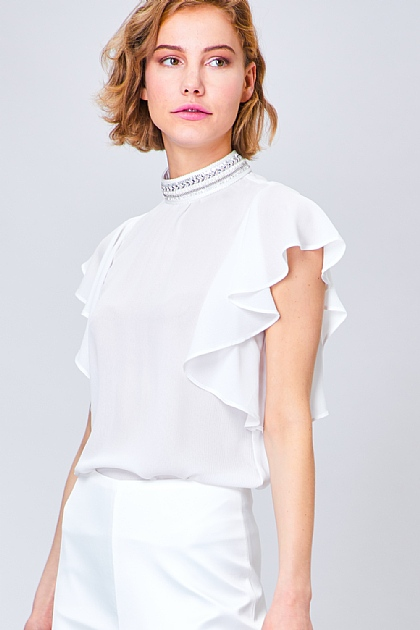 Ruffled High Neck Beaded Blouse in White