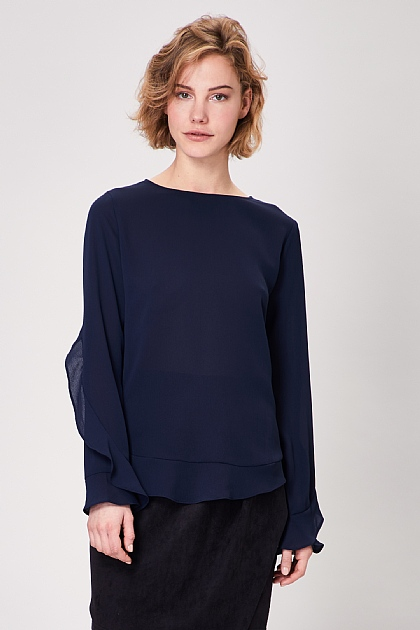 Navy Long Flared Sleeve Ruffle Top