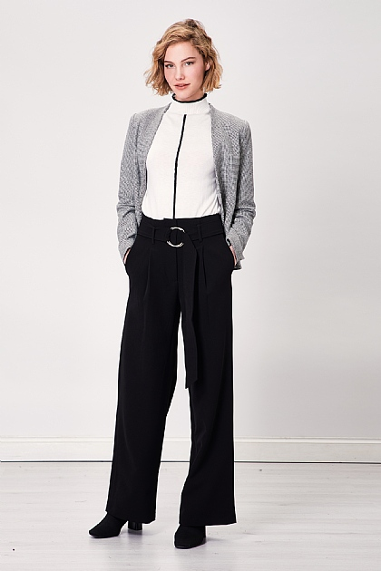 Black Wide Leg Silver Loop Belt Smart Trousers