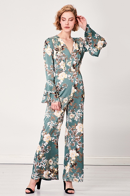 Green Floral Flared Flute Sleeve Jumpsuit