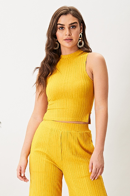 Yellow Mustard High Neck Crop