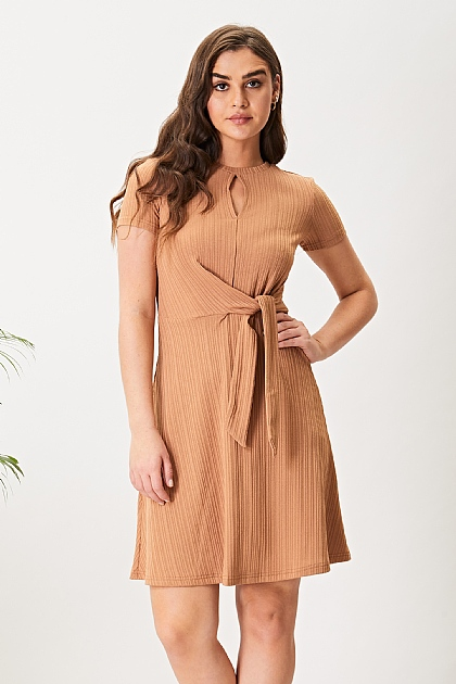 Coffee Brown Keyhole Short Sleeve Mini Dress