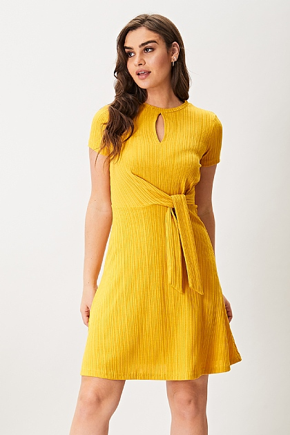 Mustard Yellow Keyhole Short Sleeve Mini Dress