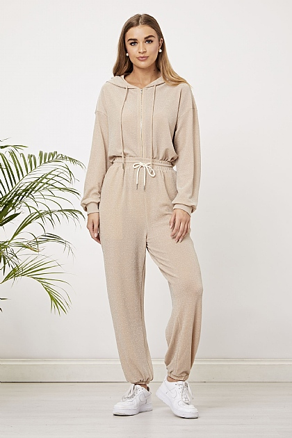 Nude Sparkly Lounge Set Joggers