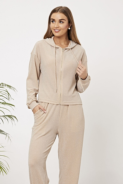 Nude Sparkly Lounge Set Zip Up Hoodie