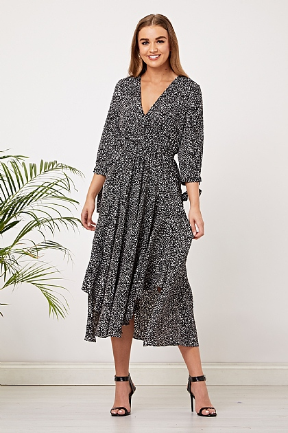 Black Polka Dot Wrap Front Midi Dress