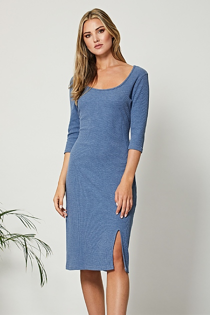 Blue Bodycon Recycled Polyester Midi Dress