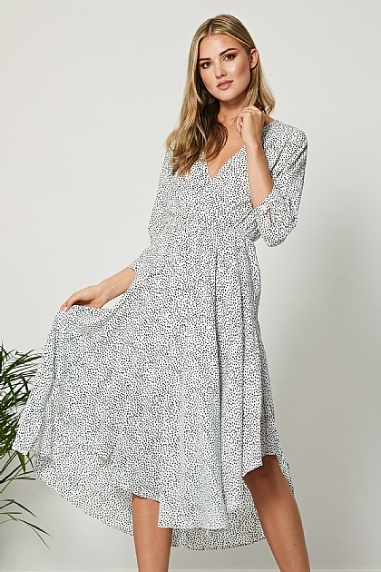 Irregular Polka Dot Wrap Front Midi Dress in White