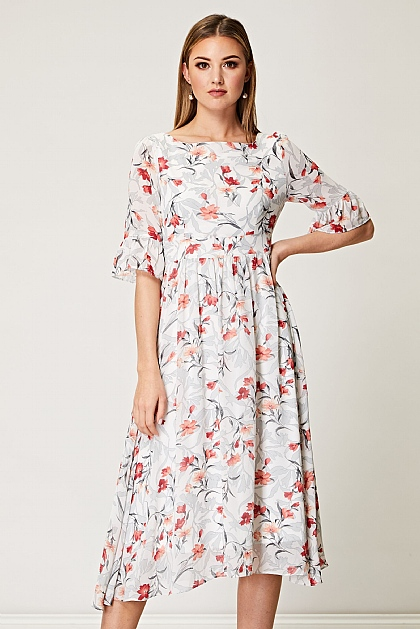Floral Babydoll Midi Dress in White