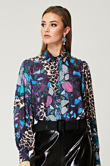 Mixed Print Full Sleeve Blouse with Wide Cuffs and Gold Buttons
