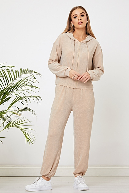 Sparkly Co-ord 2 Piece Loungewear Set in Oatmeal